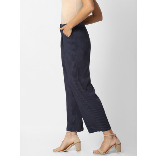 ONLY Women Navy Blue & White Flared Solid Parallel Cropped Trousers