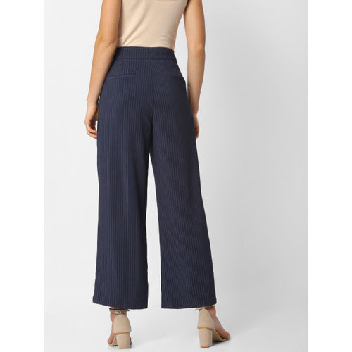ONLY Women Navy Blue  Flared Solid Parallel Cropped Trousers