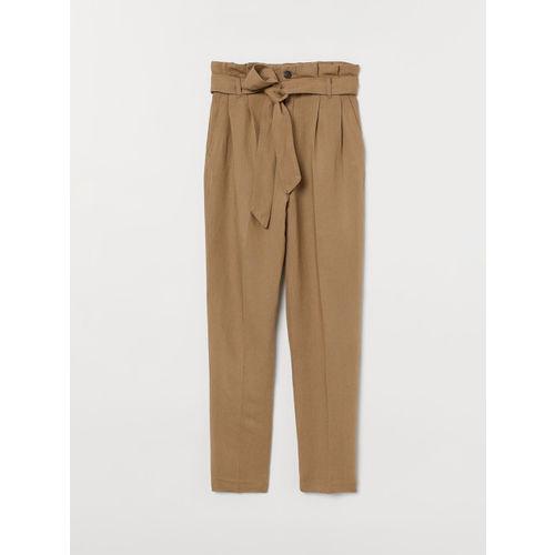 H&M Women Beige Linen-Blend Paper Bag Trousers