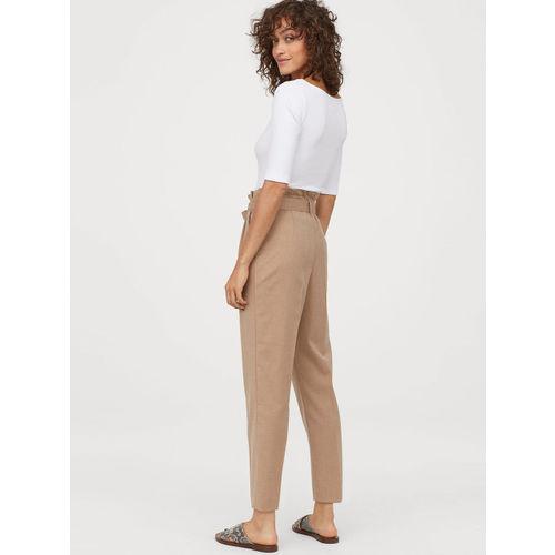 H&M Women Beige Solid Paper Bag Trousers
