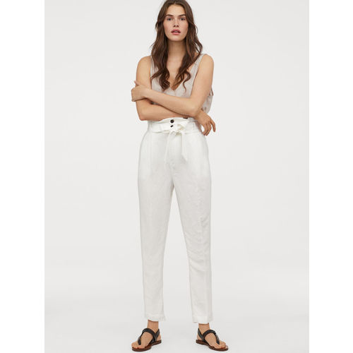 H&M Women White Linen-Blend Paper Bag Trousers