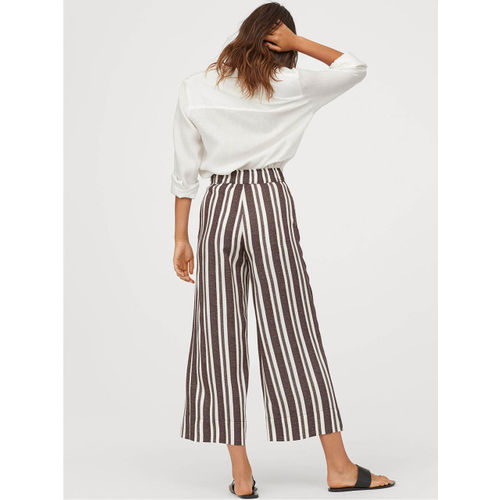 H&M Women Brown & White Striped Ankle-Length Trousers