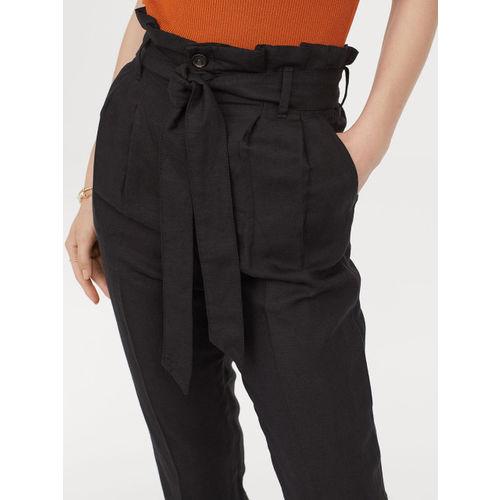 H&M Women Black Solid Linen Blend Paper Bag Trousers