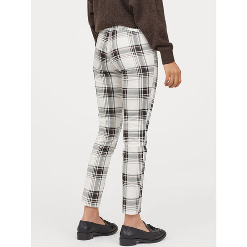 H&M Women White & Grey Checked Ankle-Length Trousers