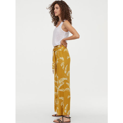H&M Women Yellow Printed Wide Trousers