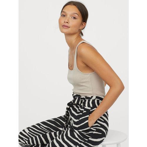 H&M Women Black Printed Linen-Blend Paper Bag Trousers