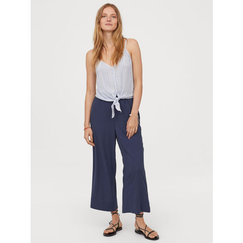 H&M Women Blue Cropped pull-on trousers