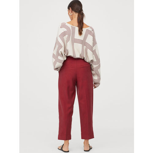 H&M Women Red Ankle-Length Trousers And Belt