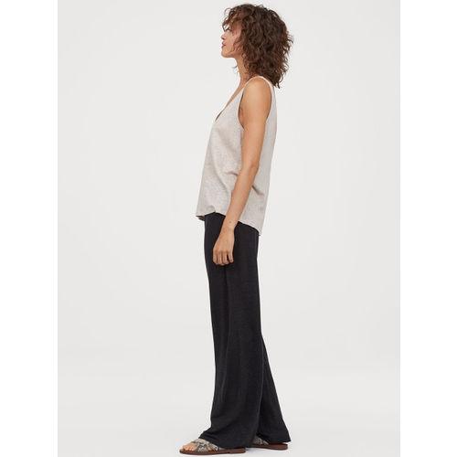 H&M Women Black Wide linen-blend trousers