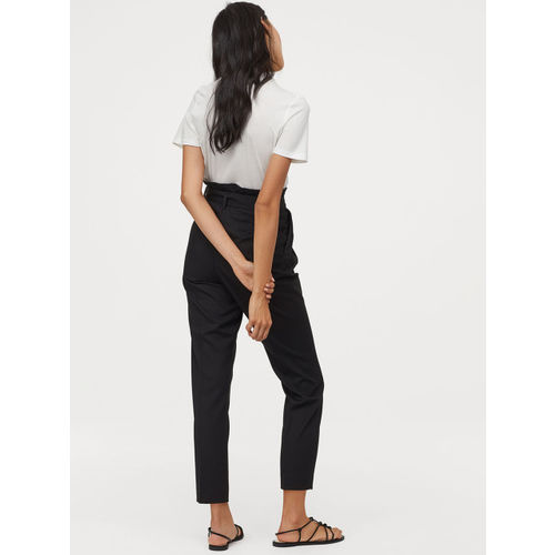 H&M Women Black Solid Paper Bag Trousers