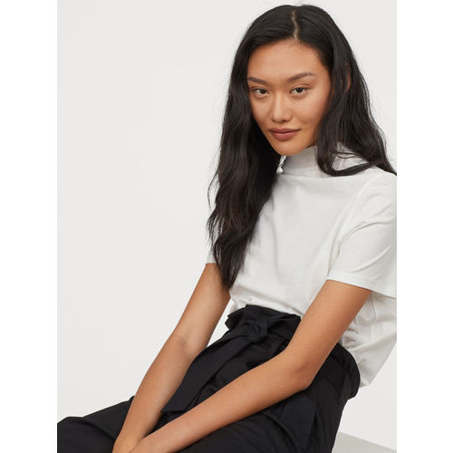H&M Women Black Solid Paper Bag Trousers