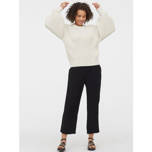 H&M Women Black Cropped Pull-On Trousers