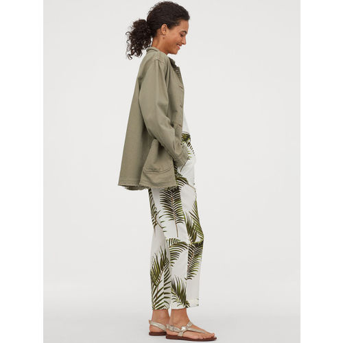 H&M Women White & Green Crpe trousers