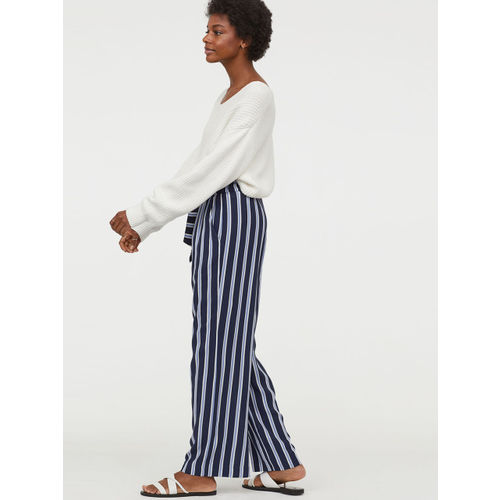 H&M Women Blue & White Wide paper bag trousers