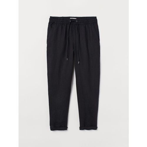 H&M Women Black Solid Linen Regular Trousers