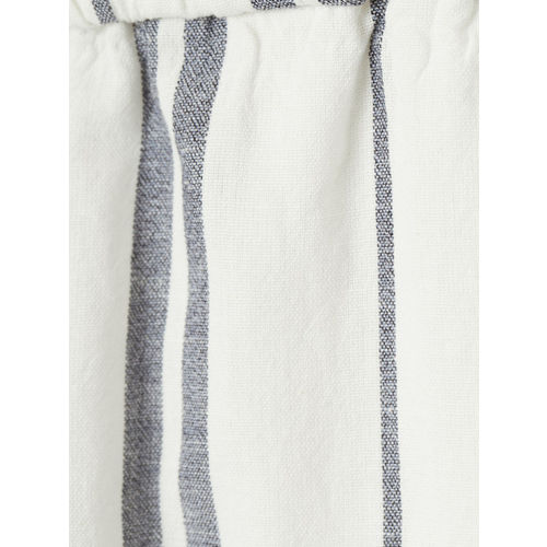 H&M Women Blue & White Striped Wide Pull-on Trousers