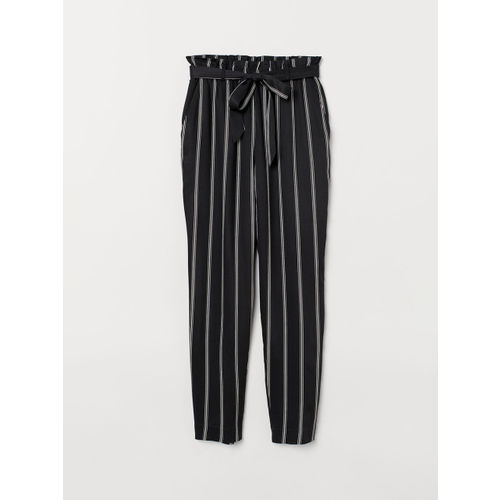 H&M Women Black Striped Paper Bag Trousers