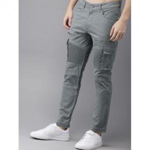 Moda Rapido Men Grey Solid Cargos