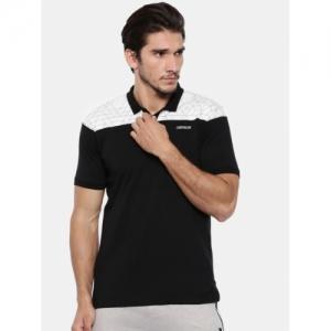 Proline Black & Off-White Colourblocked Polo Collar T-shirt