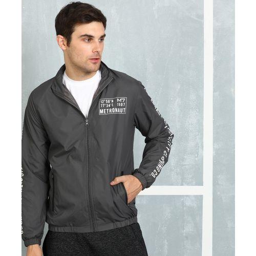 Metronaut Grey Polyester Printed Jacket