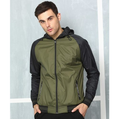 Metronaut Green and Black Polyester Solid Jacket