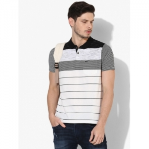 Proline White Cotton Striped Polo Collar T-shirt