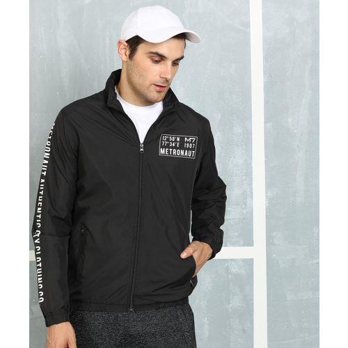 Metronaut Black Polyester Printed Jacket