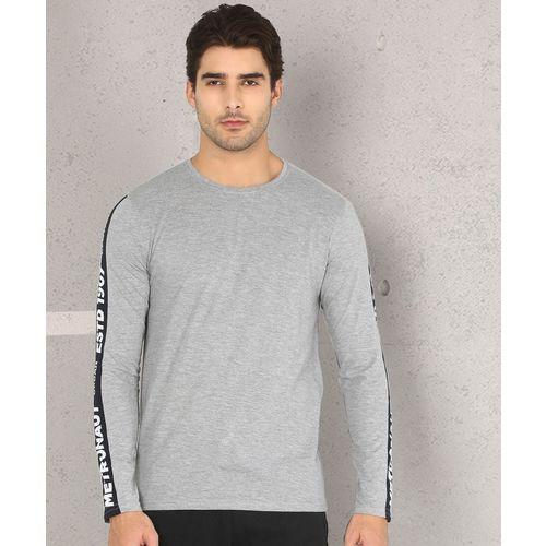 Metronaut Grey Cotton Solid Round Neck T-Shirt