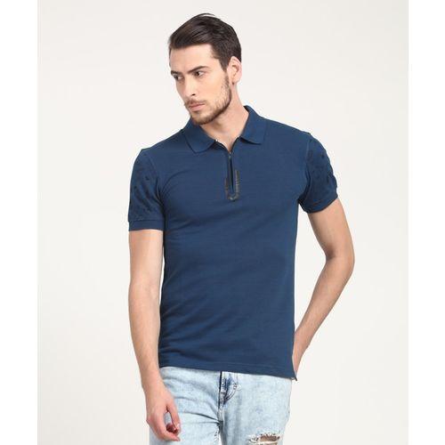 Metronaut Blue Cotton Solid Polo Neck Regular Fit T-Shirt