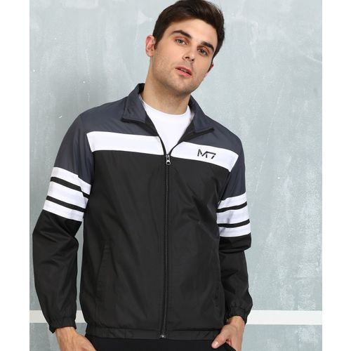 Metronaut Grey and Black Polyester Solid Regular Fit Jacket