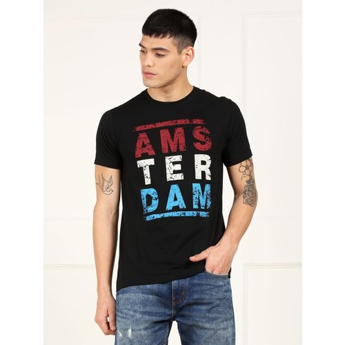 Metronaut Black Cotton Printed Slim Fit T-Shirt