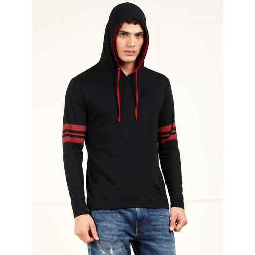 Metronaut Black and Red Cotton Hooded Printed T-shirt