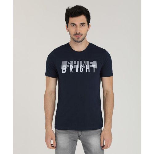 Metronaut Navy Blue Cotton Printed Round Neck T-Shirt