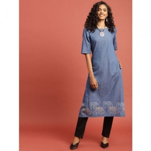 Taavi Women Blue Hand Block Print Legacy Chambray A-Line Kurta with Pockets