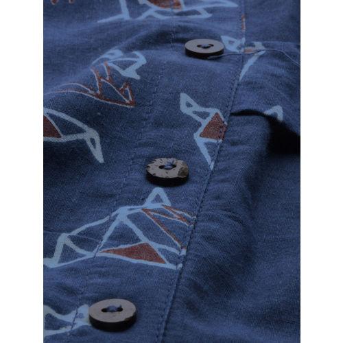 Taavi Women Blue Printed Indigo Block Print Legacy Straight Kurta