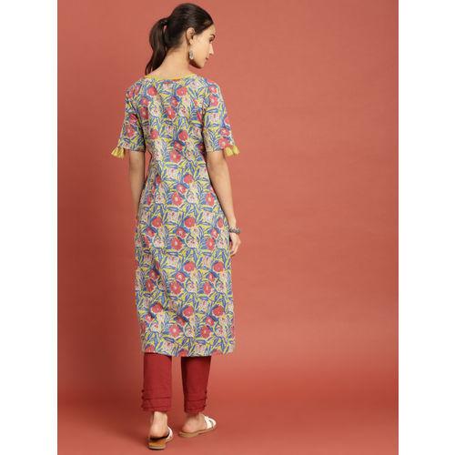 Taavi Women Blue & Yellow Block Print Legacy A-Line Panelled Kurta with Pockets