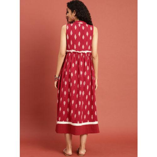 Taavi Women Red  Ikat Woven Design A-Line Dress with Shirt Collar & Gathers