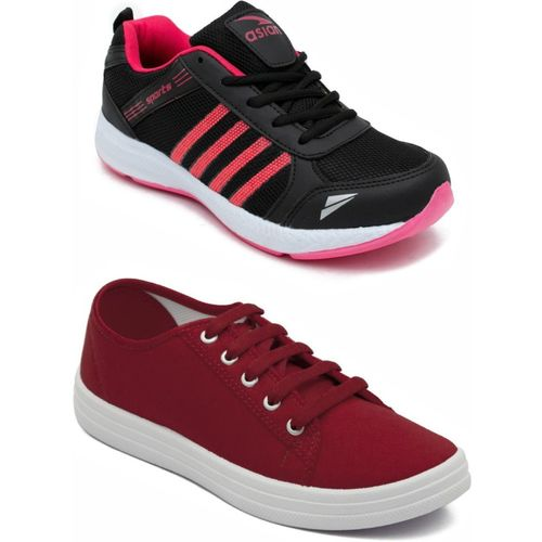 Asian PINK::RED Casual Shoes,Running Shoe,Walking Shoes,Loafres,Sneakers,Training Shoes. Casuals For Women(Multicolor)