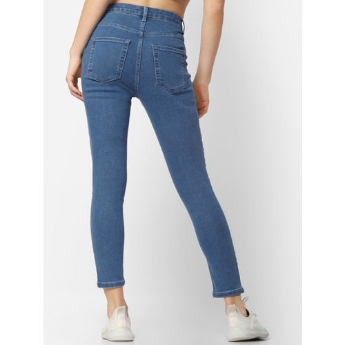 ONLY Women Blue Skinny Fit High-Rise Clean Look Cropped Jeans
