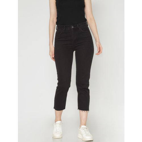 ONLY Women Black Emily Straight Fit High-Rise Clean Look Stretchable Cropped Jeans