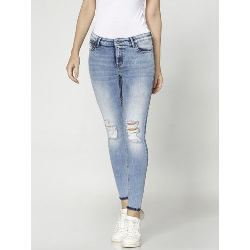 ONLY Women Blue Carmen Regular Fit Mid-Rise Mildly Distressed Stretchable Jeans