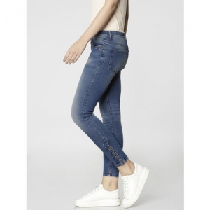 ONLY Women Blue Cramen Skinny Fit Mid-Rise Clean Look Stretchable Cropped Jeans