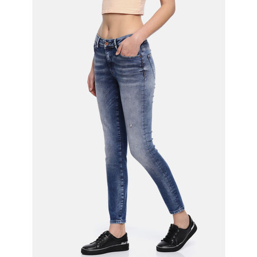 ONLY Women Blue Skinny Fit Mid-Rise Low Distress Stretchable Cropped Jeans