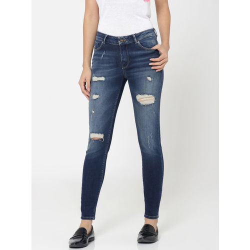 ONLY Women Blue Skinny Fit Mid-Rise Mildly Distressed Stretchable Jeans