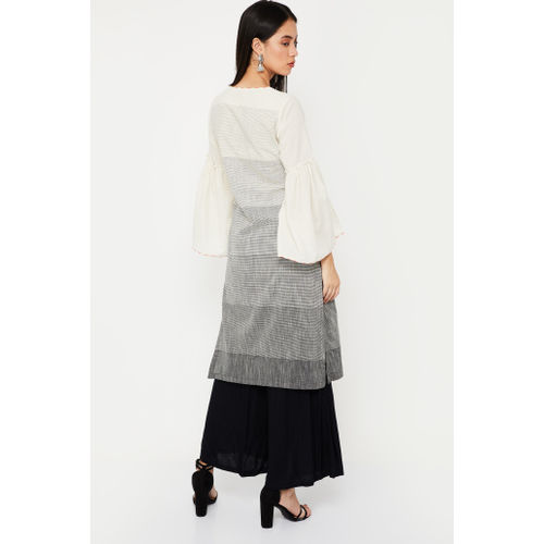 Biba Women Striped Straight Kurta(Beige)