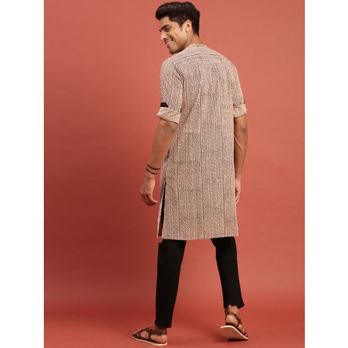 Taavi Men Beige & Black Bagru Hand Block Printed Straight Kurta