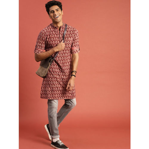 Taavi Men Maroon Kalamkari Block Printed Straight Kurta with Roll-Up Sleeves