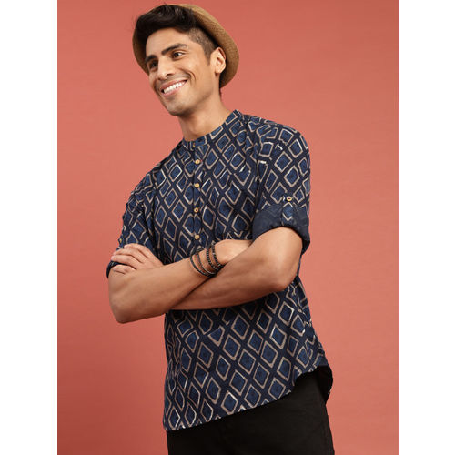 Taavi Men Indigo Hand Block Printed Straight Kurta with Roll-Up Sleeves