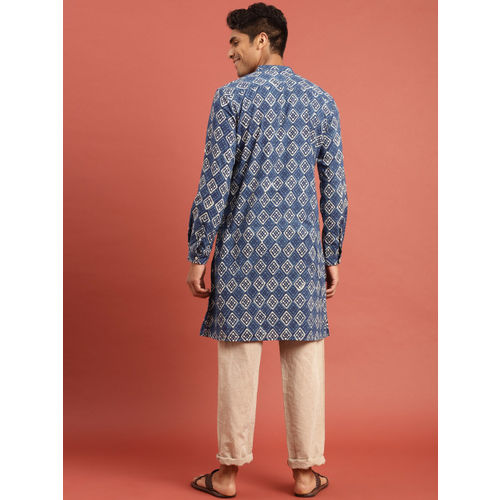 Taavi Men Blue & Off-White Indigo Hand Block Print Kurta with Pockets