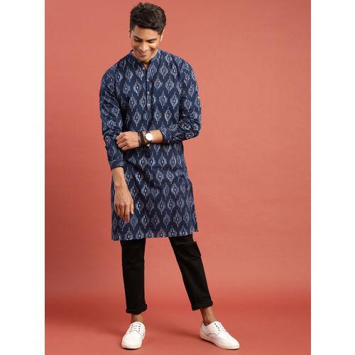 Taavi Men Indigo Hand Block Printed Straight Kurta with Roll-Up Sleeves